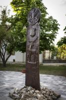 Ballószögi Szoborkert:a település 50. születésnapja alkalmából állított emlékoszlop
